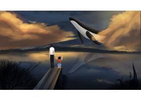 创意清新唯美手绘鲸鱼插画