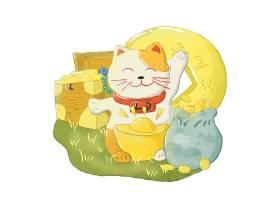 日式手绘招财猫卡通形象装饰元素设计