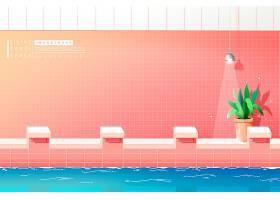 创意清新室内跳水台泳池插画设计