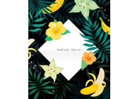 创意植物叶子与水果主题标签设计
