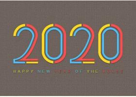 2020个性字体设计新年元素标签设计