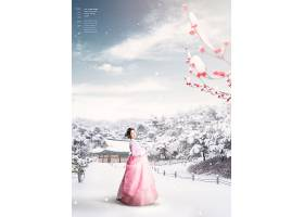 雪中的美女