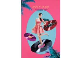 时尚年轻女性与光盘音乐影碟