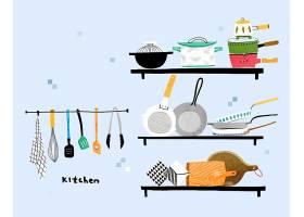 清新手绘厨房用品主题插画设计