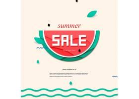 剪纸风创意夏日促销标签海报设计