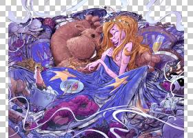 长长的头发绘画长长的头发的女人和手绘卡通熊图案PNG剪贴画水彩