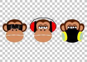 三只明智的猴子猴子PNG clipart哺乳动物,动物,卡通,桌面壁纸,鞋,