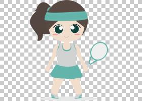 体育卡通插图,手绘女性毛球运动员PNG剪贴画水彩画,儿童,简单,手,