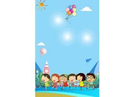 时尚清新六一儿童节海报插画通用背景