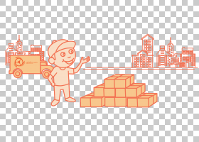 卡通,物流横幅广告创意PNG剪贴画角度,文字,橙色,卡通,艺术,滚动,