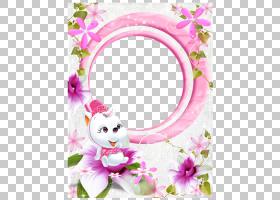 卡通可爱粉色花框PNG剪贴画边框,插花,专辑,金框,时髦的框架,心,