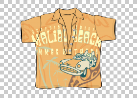 T恤服装袖子,橙色半袖PNG剪贴画t恤,文字,一半,橙色背景,半月亮,