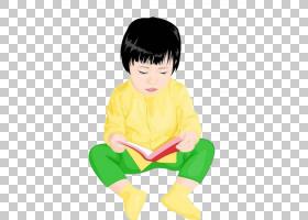 儿童插图,坐着和阅读儿童PNG剪贴画孩子,黑头发,手,人,阅读,蹒跚