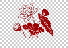福中国新年印章字体,手绘莲花PNG剪贴画水彩画,墨水,食品,叶,中国图片