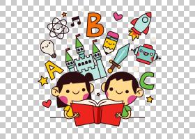 阅读海报卡通,阅读儿童,男孩和女孩阅读书籍艺术PNG剪贴画儿童,文