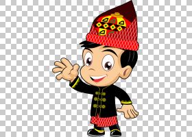 亚齐Rumah阿达特动画卡通,啦A梦男孩戴着红色帽子的插图PNG剪贴画