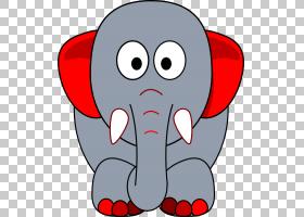 印度象非洲大象,灰色红色PNG clipart蓝色,白色,动物,头,婴儿,卡图片