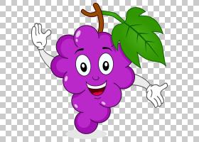 葡萄卡通果汁葡萄PNG剪贴画紫色,食品,叶,葡萄汁,葡萄,虚构人物,