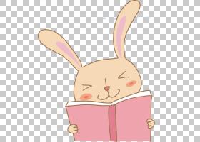 兔子,粉红色兔子读PNG剪贴画哺乳动物,动物,手,阅读,着色,脊椎动