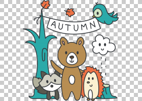 欧几里德绘图,卡通小动物在秋天PNG剪贴画卡通人物,文本,carnivor