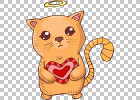 猫卡通插图,爱天使卡通猫PNG剪贴画爱,漫画,哺乳动物,食品,动物,