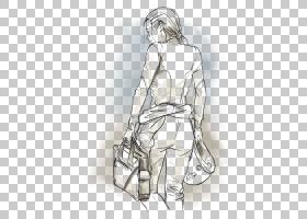 手指画线艺术素描,设计PNG剪贴画白,手,单色,人类,时尚插画,虚构