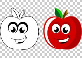 手绘苹果卡通苹果水果PNG剪贴画爱,食品,脸,叶,文本,心,笑脸,花卉