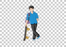 男孩女孩卡通,男性蓝色衬衫滑板PNG剪贴画T恤,蓝色,孩子,男孩,婴