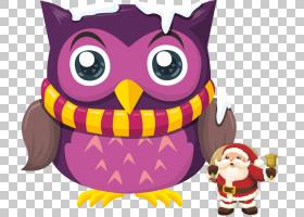 猫头鹰拼图鸟图,卡通猫头鹰圣诞老人PNG剪贴画杂项,卡通人物,紫色图片
