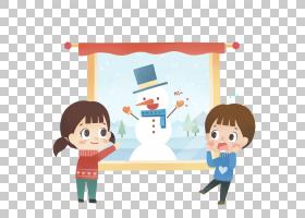 卡通雪图,窗外PNG剪贴画的雪儿童,冬季,幼儿,窗口,男孩,窗口,卡通