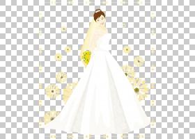 婚礼礼服新娘白色花瓣女孩,手绘卡通婚礼面纱PNG剪贴画水彩画,假