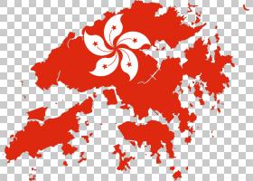 香港国旗地图,餐饮旗帜PNG剪贴画叶,心,虚构人物,花卉,免版税,地