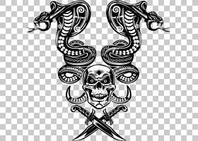 蛇骨架骷髅眼镜蛇蛇PNG剪贴画动物,单色,虚构人物,人类头骨象征,