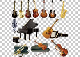 乐器吉他乐团,乐器元素PNG剪贴画麦克风,钢琴,生日快乐矢量图像,