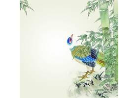 鸳鸯主题中国风背景素材山水画水墨画