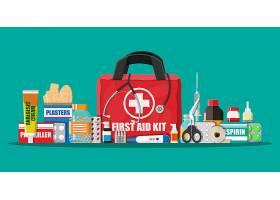 创意扁平化医疗包物品解读插画设计图片