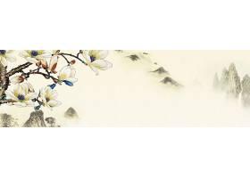 玉兰花水墨大山中国风横幅背景