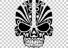骷髅T恤,豹子PNG剪贴画动物,徽标,单色,虚构人物,纹身,人头,部落,