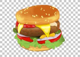 汉堡芝士汉堡早餐三明治素食汉堡快餐,每日汉堡PNG剪贴画食品,早