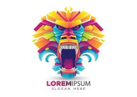 炫彩折纸和动物形象矢量装饰图案LOGO设计