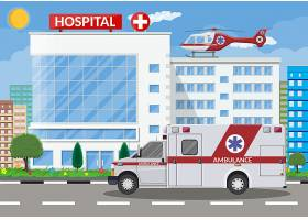 创意扁平化医院建筑外观插画设计图片