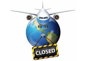 预防与抗击疫情取消航班概念宣传插画设计图片