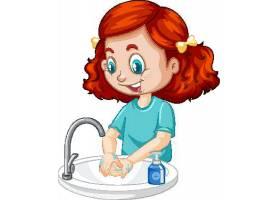 洗手预防新冠病毒主题插画设计图片