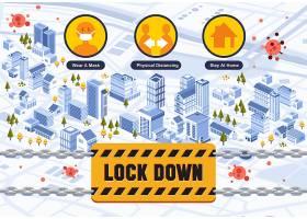 防治冠状病毒疫情场景封锁插画设计