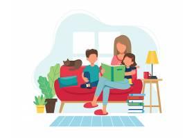 疫情期间呆在家里主题插画设计
