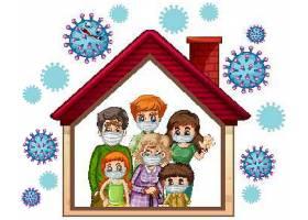 在家预防与抗击疫情概念宣传插画设计图片