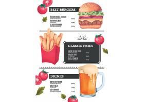 个性西餐汉堡薯条面包主题菜单餐牌模板设计