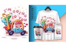清新可爱的动物插图和t恤印花图案VI物品展示