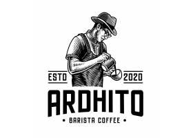 复古单色咖啡主题英文标签插画设计