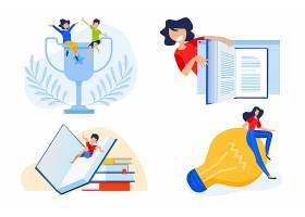 扁平化教育学习主题人物插画设计